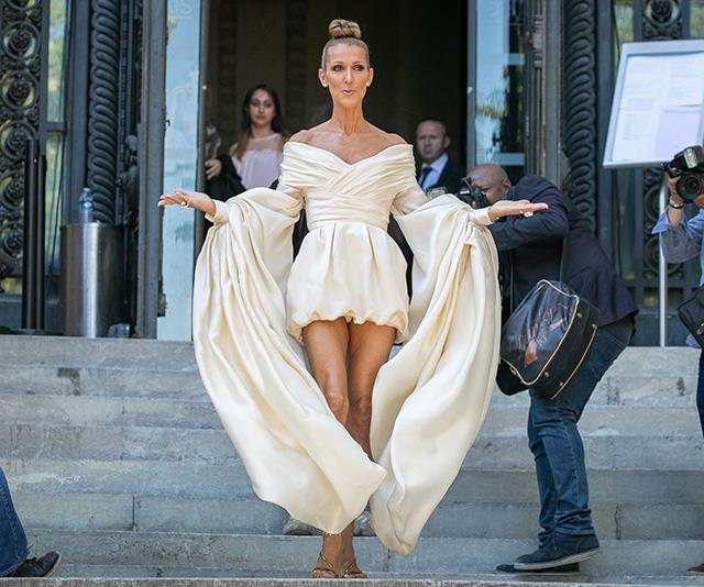 The woman, the wonder, the legend. Celine's bride-gone-rogue look worn to the Alexandre Vauthier show at Paris Fashion Week in July 2019 has us transfixed.