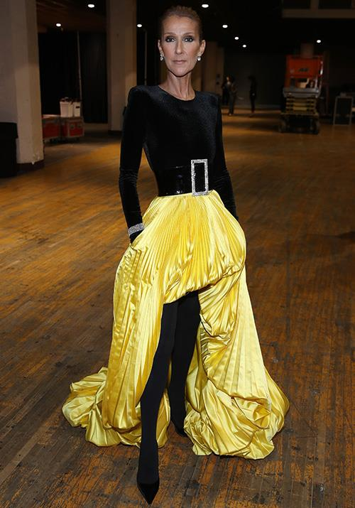 Performing at *Aretha! A GRAMMYÂ* earlier this year, Dion's zesty yellow satin skirt and tights combo completely flawed us... how does she do it so well?!