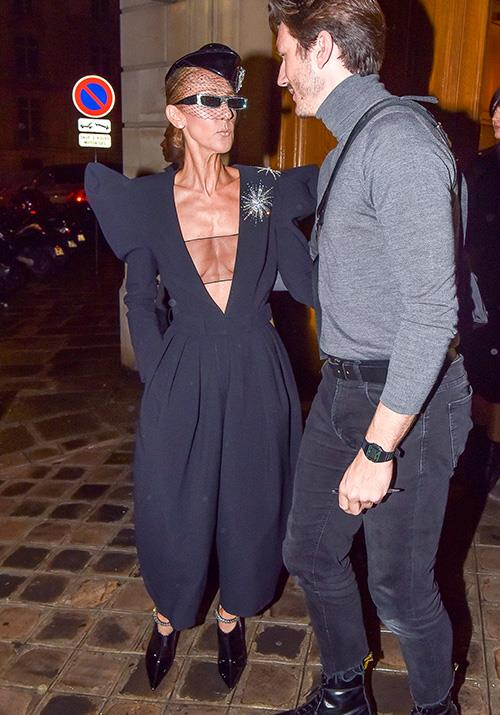 Paris looks good on Celine - her harem pant jumpsuit complete with statement shoulders couldn't be more haute couture if it tried.