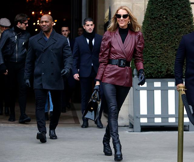 Dion rocked biker-chic like no other in this leather get-up worn as she exited the Givenchy building during Paris Fashion Week in January this year.