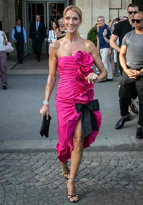 Attending the Miu Miu show in Paris, Dion's ruched fuchsia number had us ogling with glee.