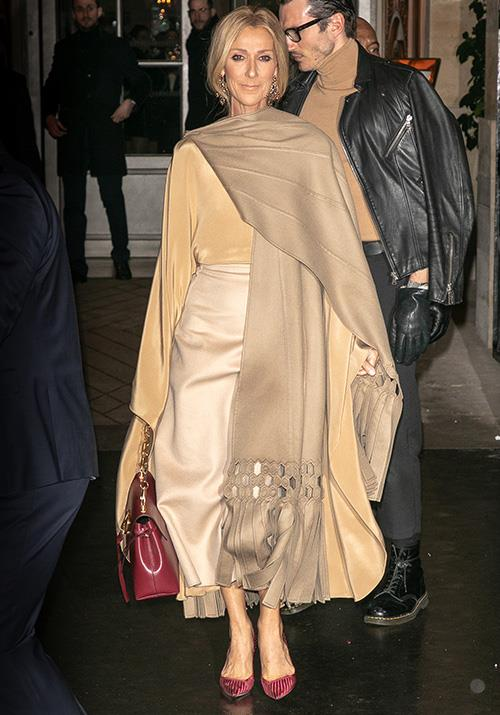 Stepping out for the Valentino show in January, this beige and maroon combo was pure heaven on our golden girl Celine.