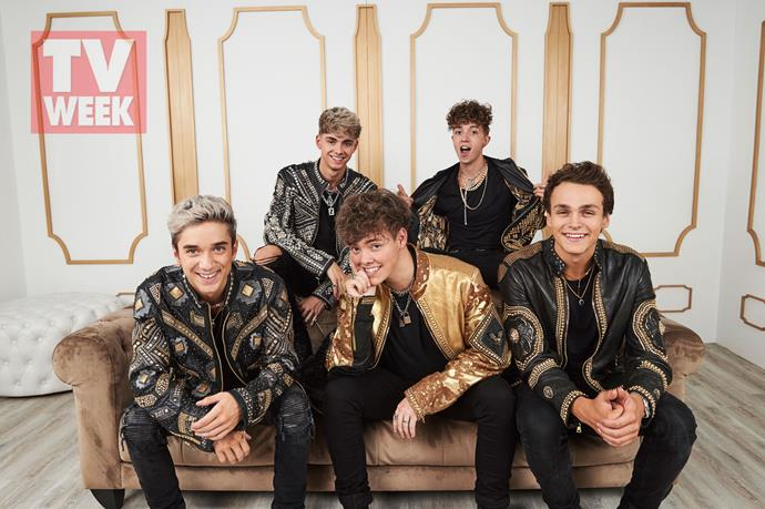 """**Why Don't We** <br><br> US boyband Why Don't We - made up of Daniel Seavey, Jack Avery, Corbyn Besson, Zach Herron, and Jonah Marais - chilled backstage after performing their song """"I Don't Belong In This Club"""" on stage."""