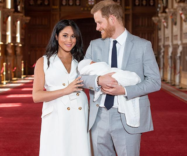 Meghan, Harry and a very newborn Archie during their first official photo call.