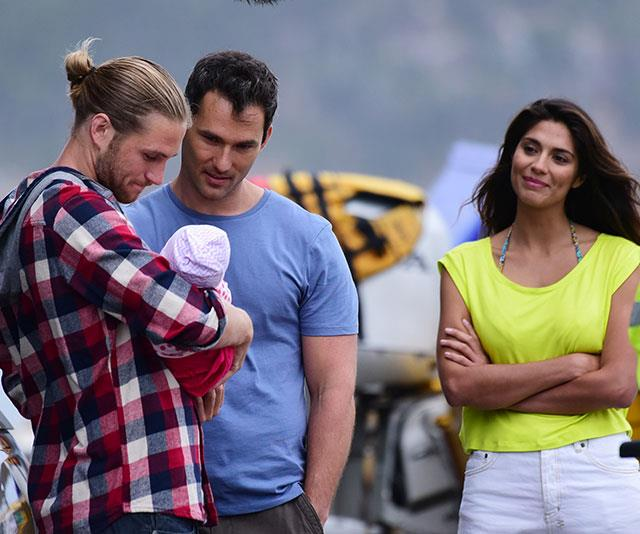 George on set with Pia Miller.