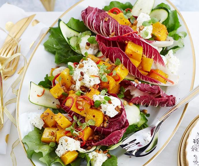 "**Christmas celebration salad with maple dressing** <br><br> With chunks of roasted pumpkin, fine ribbons of zucchini and creamy mozzarella finished off with a sweet maple dressing, this vibrant Christmas salad will stand out from the rest. <br><br> *See the full Australian Women's Weekly recipe [here](https://www.womensweeklyfood.com.au/recipes/christmas-celebration-salad-1863|target=""_blank""