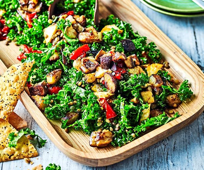 "**Eggplant, kale and lentil salad** <br><br> This delicious salad is packed full of flavour and textures, proving that healthy lunches don't have to taste boring. You'll love the combination of flavours and sweet pomegranate dressing. <br><br> *See the full Australian Women's Weekly recipe [here](https://www.womensweeklyfood.com.au/recipes/eggplant-kale-and-lentil-salad-1682|target=""_blank""