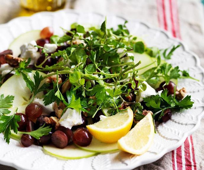 "**Grape and apple salad with goat's cheese** <br><br> This classic flavour combo is a guaranteed crowd pleaser. It works well as a side but is also substantial enough to full up the vegos at the table.  <br><br> *See the full Australian Women's Weekly recipe [here](https://www.womensweeklyfood.com.au/recipes/grape-and-apple-salad-with-goats-cheese-5400|target=""_blank""