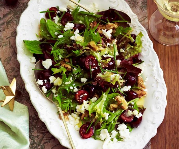 "**Cherry, walnut and feta salad** <br><br> Indulge in the delicious combination of cherry, walnut and feta in this fresh wholesome salad - a perfect addition to your Christmas in July bash this year! <br><br> *See the full Australian Women's Weekly recipe [here](https://www.womensweeklyfood.com.au/recipes/cherry-walnut-and-feta-salad-29378|target=""_blank""