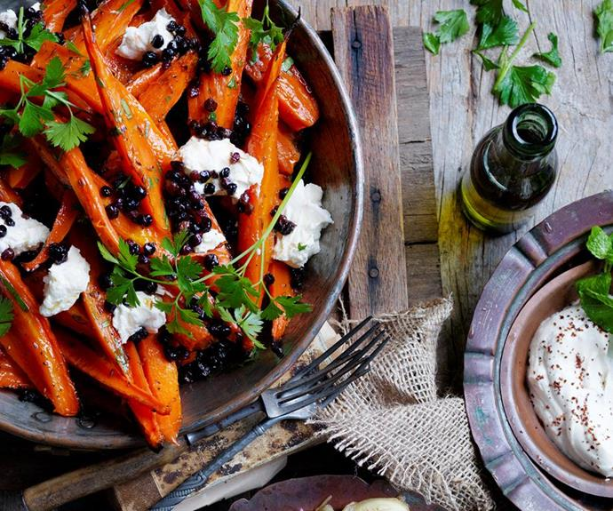 "**Honey roasted carrots with labne** <br><br> The fresh labne perfectly offsets the sweetness of the honey in this hearty dish.  <br><br> *See the full Australian Women's Weekly recipe [here](https://www.womensweeklyfood.com.au/recipes/honey-roasted-carrots-with-labne-28521|target=""_blank""