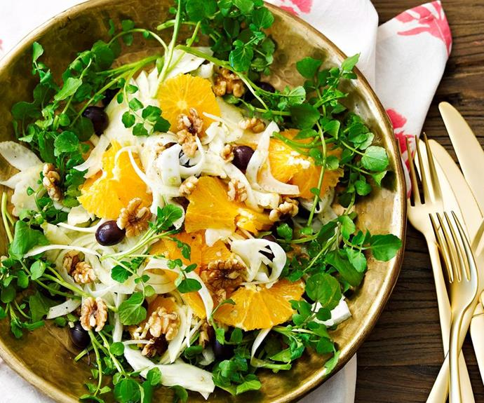"**Orange and fennel salad** <br><br> Orange and fennel is a classic flavour combination.  <br><br> *See the full Australian Women's Weekly recipe [here](https://www.womensweeklyfood.com.au/recipes/orange-and-fennel-salad-23802|target=""_blank""