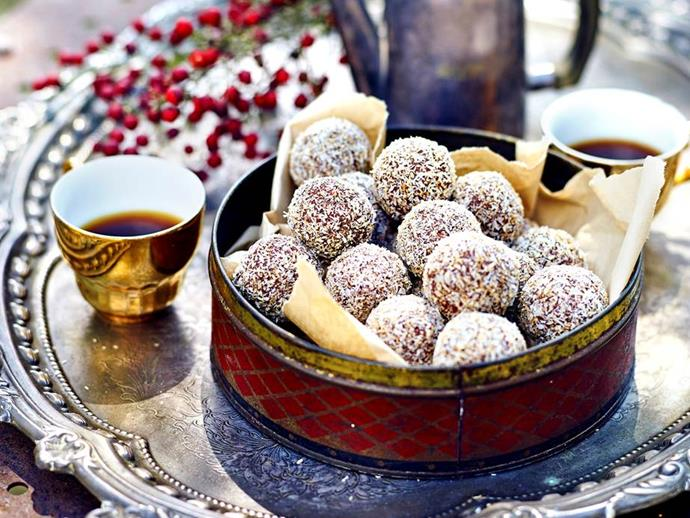 "**Classic rum balls** **<br><br>** Wonderfully sweet and fragrant, these rum-infused treats are beautiful rolled in toasted coconut and served up at Christmas time as a beautiful edible gift, afternoon snack or light dessert. <br><br> *See the full Australian Women's Weekly recipe [here](https://www.womensweeklyfood.com.au/recipes/classic-rum-balls-1632/|target=""_blank""