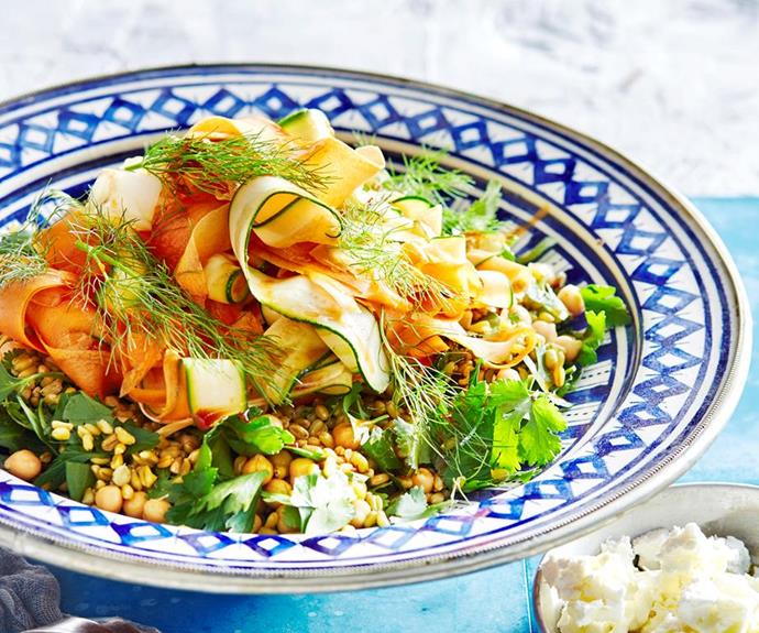 "**Freekeh salad with spiced vegetables** <br><br> Embrace the lovely flavours of fresh vegetables, zesty Moroccan spices and nutty freekeh in this surprisingly filling summer salad. <br><br> *See the full Australian Women's Weekly recipe [here](https://www.womensweeklyfood.com.au/recipes/freekah-salad-with-spiced-vegetables-1638|target=""_blank""