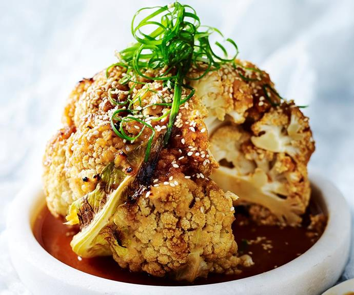 "**Miso-roasted whole cauliflower** <br><br> Whether you're following a meat-free diet or are just looking for creative ways to up your vegie intake, try this delicious whole roasted cauliflower. The miso dressing is to die for! <br><br> *See the full Australian Women's Weekly recipe [here](https://www.womensweeklyfood.com.au/recipes/miso-roasted-whole-cauliflower-1795|target=""_blank"").*"