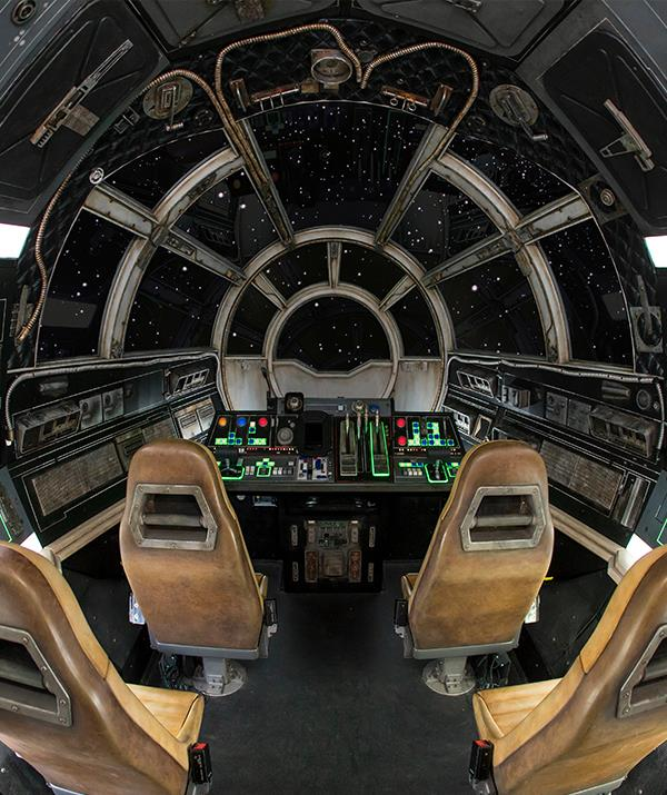 The cockpit of *Millennium Falcon*: Smuggler's Run at *Star Wars*: Galaxy's Edge, Disneyland.