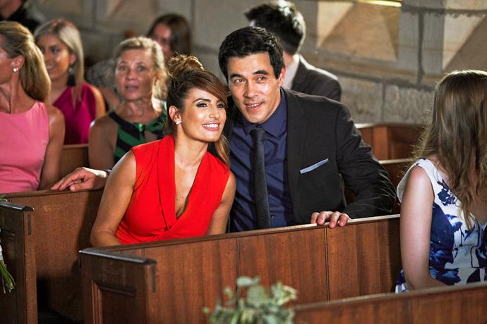 Leah (Ada Nicodemou) and Justin (James Stewart) share in Robbo and Jasmine's joy.