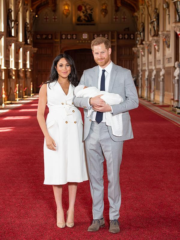 Meghan's white dress worn to debut her new baby Archie captured global attention.