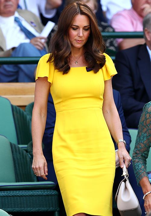 Continuing her streak in all things bright and beautiful, the following year Kate was a vision in this zesty yellow Dolce & Gabbana number for Wimbledon.