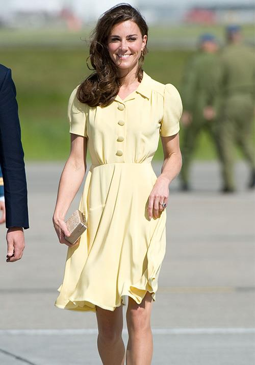 Proving her travel attire is just as good as her tennis attire, Kate's buttercup yellow Jenny Packham dress worn at Calgary Airport in 2011 was the image of perfection.