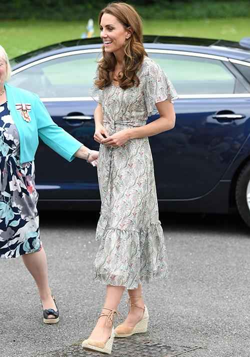 "In June, the Duchess wore this stunning Ridley London summer dress with her go-to espadrille wedge heels, and we didn't hesitate to try to [replicate this look](https://www.nowtolove.com.au/fashion/fashion-trends/kate-middleton-espadrilles-56638|target=""_blank"") pronto."