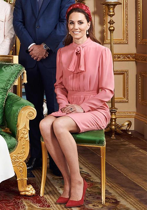 "And in another recent fashion moment, Kate's pink [Stella McCartney number](https://www.nowtolove.com.au/fashion/fashion-news/meghan-markle-kate-middleton-christening-outfits-56901|target=""_blank"") paired with rouge-toned shoes and hat was the definition of wonderful. Long may her golden summer dress streak continue!"