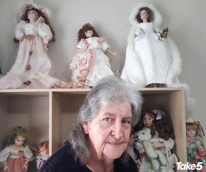 My vintage dolls on display at Jerald's