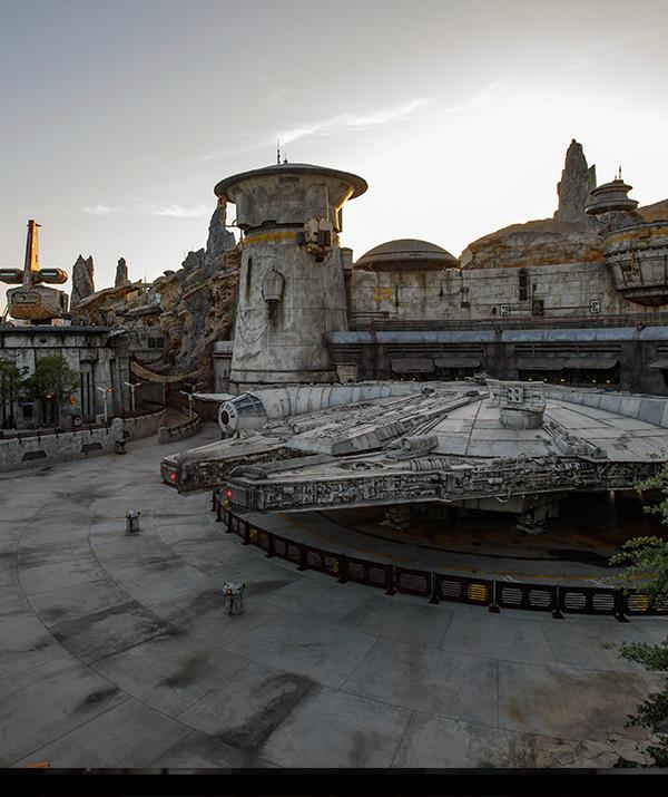 The *Millennium Falcon* at *Star Wars*: Galaxy's Edge - the first time a replica of the ship has been 100% built full-size.