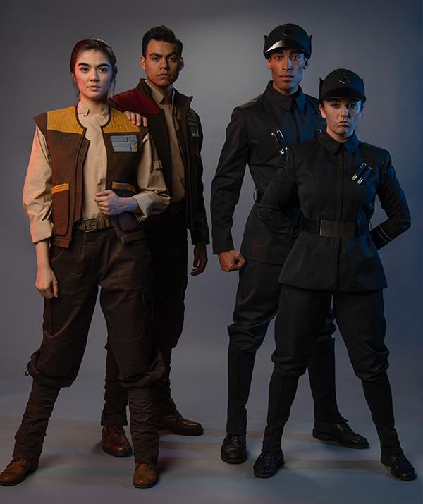 Some of the Resistance fighters and First Order officers you can expect to come across at *Star Wars*: Galaxy's Edge.