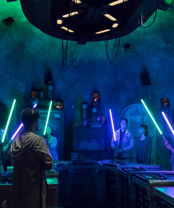 Build your own lightsaber in Savi's Workshop at *Star Wars*: Galaxy's Edge.