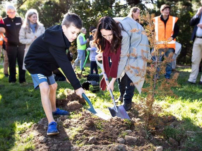 Kiwi PM Jacinda Ardern also recently got into the spirit of tree-planting on behalf of new royal baby Archie.