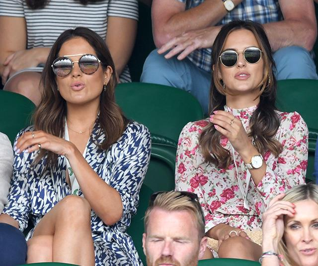 And former *Made In Chelsea* stars Binky Felstead and Lucy Watson might have worn clashing prints, but their expressions couldn't have been more alike!