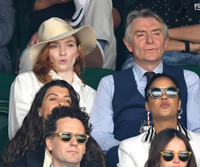 British actress Eleanor Tomlinson was clearly taken aback at one point in the match.