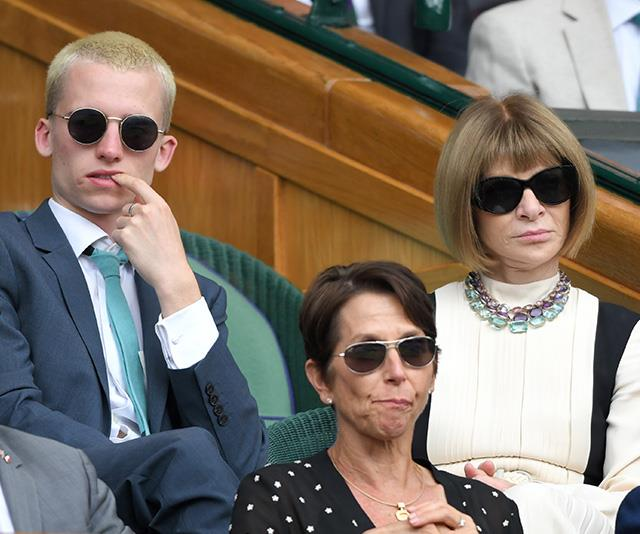 Composed as always, *Vogue*'s editor-in-chief Anna Wintour was cool, calm and collected as she watched on with her nephew, Luke.