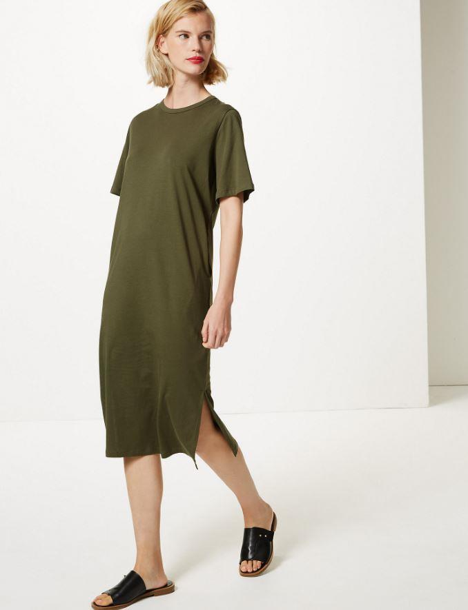 "Pure Cotton T-Shirt Midi Dress from **Marks & Spencer**, $33. Buy it [online here](https://www.marksandspencer.com/au/pure-cotton-t-shirt-midi-dress/p/P60225929.html|target=""_blank""