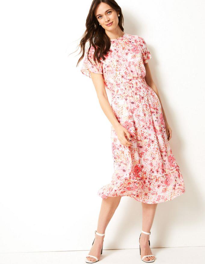 "Floral Print Waisted Midi Dress from **Marks & Spencer**, $73. Buy it [online here](https://www.marksandspencer.com/au/floral-print-waisted-midi-dress/p/P60218057.html|target=""_blank""