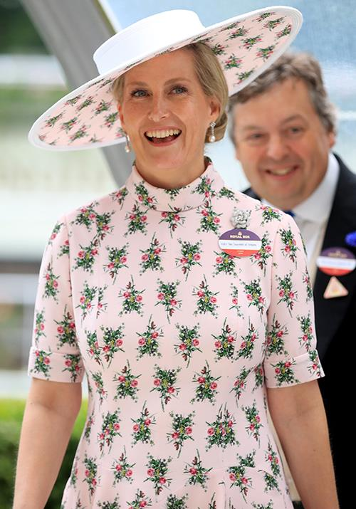 Sophie also opted for a gorgeous pink printed dress at Ascot 2019 - the high-neckline and matching hat looked *so* chic on the royal.