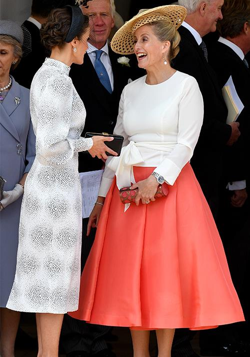 "The Countess also wowed onlookers in this bright ensemble worn at the [Order of the Garter service](https://www.nowtolove.com.au/royals/british-royal-family/kate-middleton-order-of-the-garter-56465|target=""_blank"") in June."