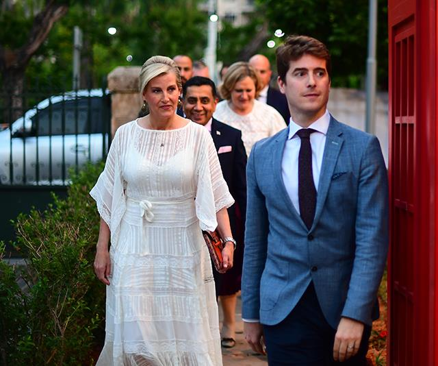 We're also enamoured with this white gown Sophie wore while she was visiting Lebanon in June.