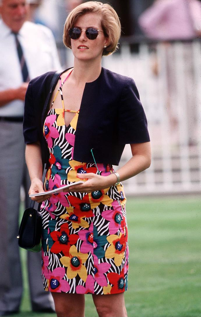 And in what might be our favourite look on the royal of all time, this multi-coloured dress and sunglasses combo worn *before* she became a royal in 1995 is, quite literally, everything. Thanks for the endless fashion inspiration, Sophie!