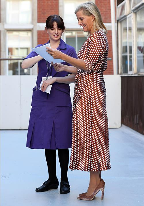 "Sophie's polka-dot dress worn while she was visiting St Thomas's Hospital in London is the perfect [smart-casual ensemble](https://www.nowtolove.com.au/fashion/fashion-news/kmart-polka-dot-dress-56952|target=""_blank"") for a working day. And how chic are those shoes!"