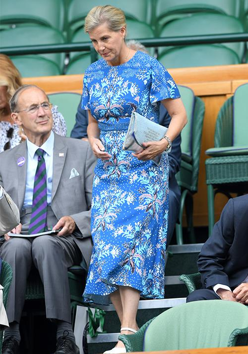 "Attending the [Wimbledon Championships in 2019](https://www.nowtolove.com.au/royals/british-royal-family/royals-wimbledon-2019-56988|target=""_blank""), Sophie's bright blue dress, which featured a stunning paisley print wasn't the only thing that caught everyone's attention..."