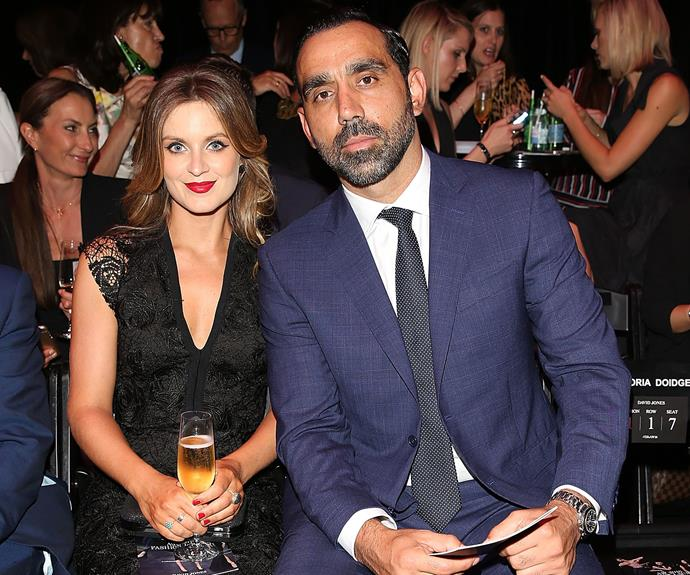 Adam Goodes and his wife Natalie Croker.