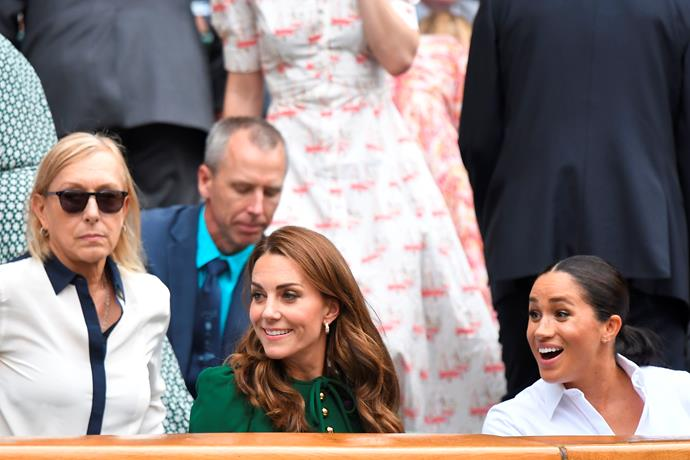 Meghan and Kate were seen animatedly chatting to each other, and those around them.