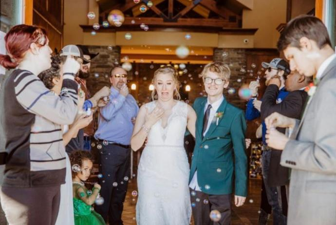 This bride got a bubble in her eye at the wrong moment.