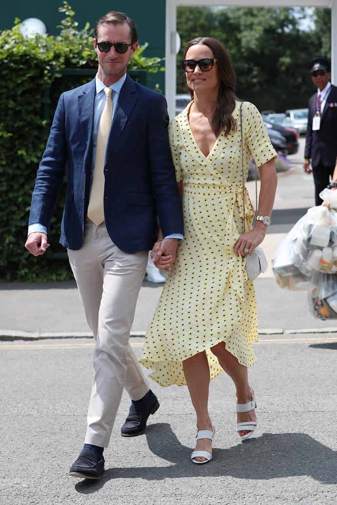 Pippa, who attended Wimbledon alongside husband James Matthews, looked radiant in yellow for her day at the Championship.
