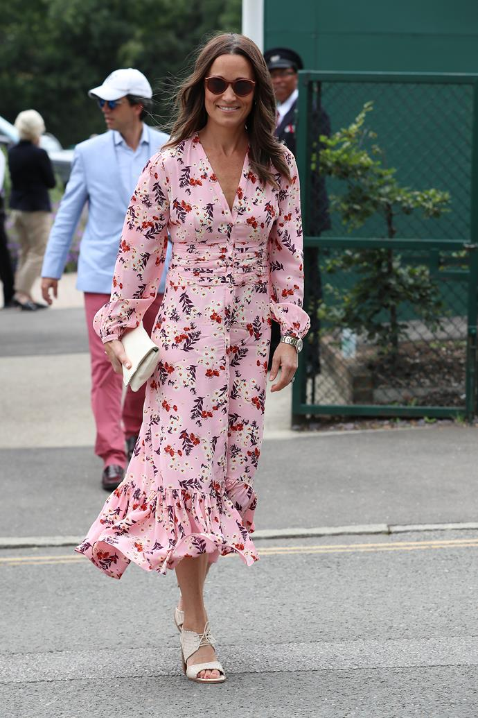 Pippa's pink printed byTiMo dress is our favourite yet.
