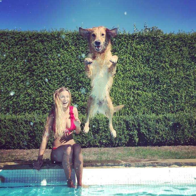 We love this snap of Alizee and James' golden retriever Mabel!