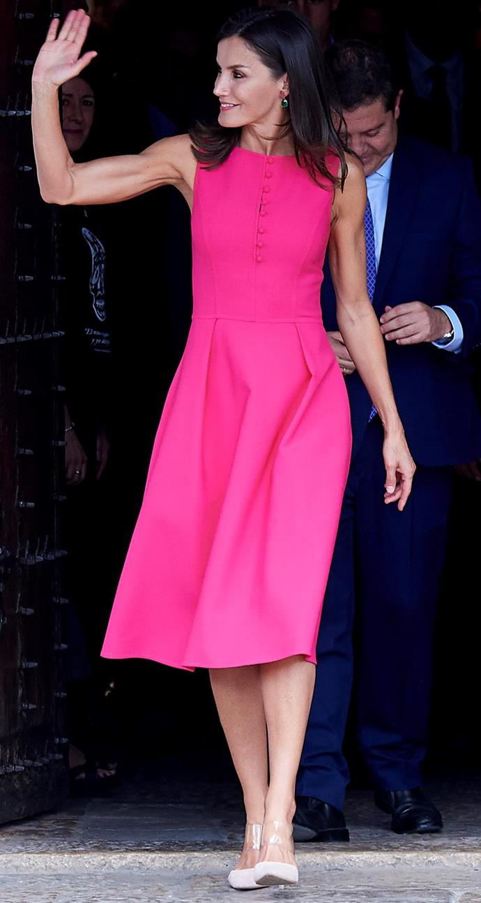 We can't stop staring at this stunning pink dress.