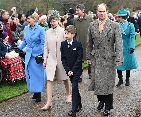 James pictured with his parents Prince Edward and Countess Sophie of Wessex and big sister Lady Louise.