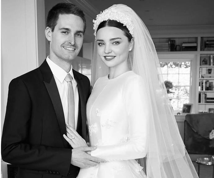 "**Miranda Kerr and Evan Spiegel** <br><br> [The Aussie supermodel was married to actor Orlando Bloom](https://www.nowtolove.com.au/parenting/celebrity-families/miranda-kerr-orlando-bloom-coparenting-57057|target=""_blank"") for three years, between 2010 and 2013 and the couple have an eight-year-old son together, Flynn.  <br><br> Now Miranda is married to Snapchat CEO Evan Spiegel and wore a stunning custom Dior gown on her wedding day, inspired by the iconic wedding dress Grace Kelly wore to her own nuptials. The couple now have a son together, Hart Spiegel, with a second child expected to arrive later this year."